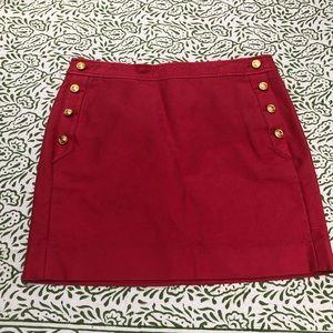 Red nautical jcrew mini skirt
